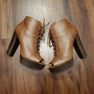Chunky heel peep toe booties